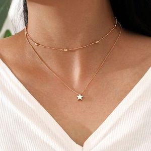 Gold Boho Festival Star Layered Necklace Chain